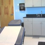 Patient Room in Physician's Office. The Cabinets are Made with King MediGrade®, The Antimicrobial Polymer Building Sheet for Healthcare Applications.