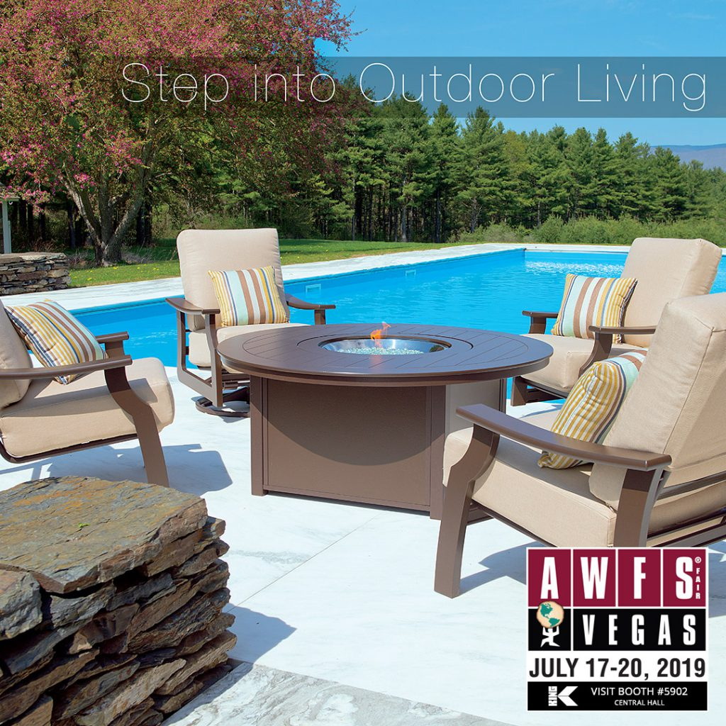 Graphic for King Plastic's Step into Outdoor Living at AWFS Booth 5902 in Central Hall