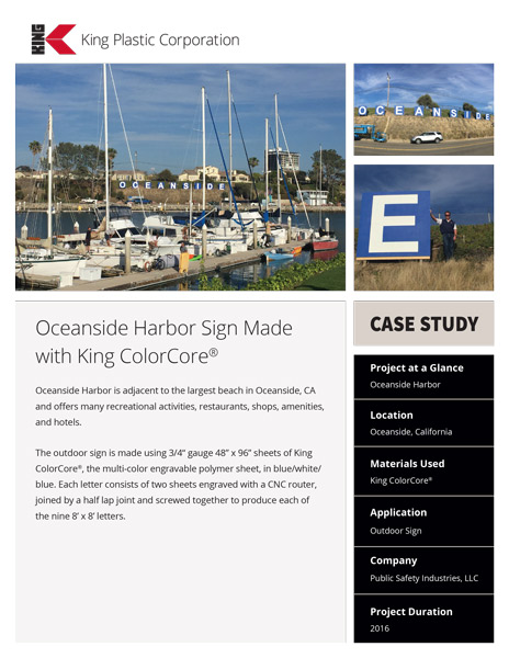 Oceanside Harbor Sign Made with King ColorCore®